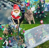 Decorating Leo's Grave
